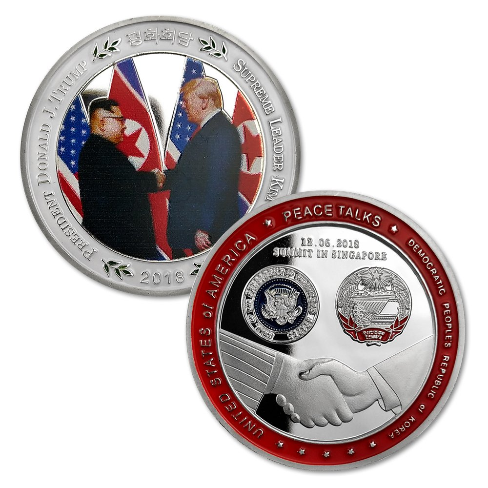 U.S. Presidential Challenge Coin Silver Plated President Trump Summit Singapore Kim Jon Un 2018 Peace Talk Historic Handshake Moment Commemorative. Amazinga