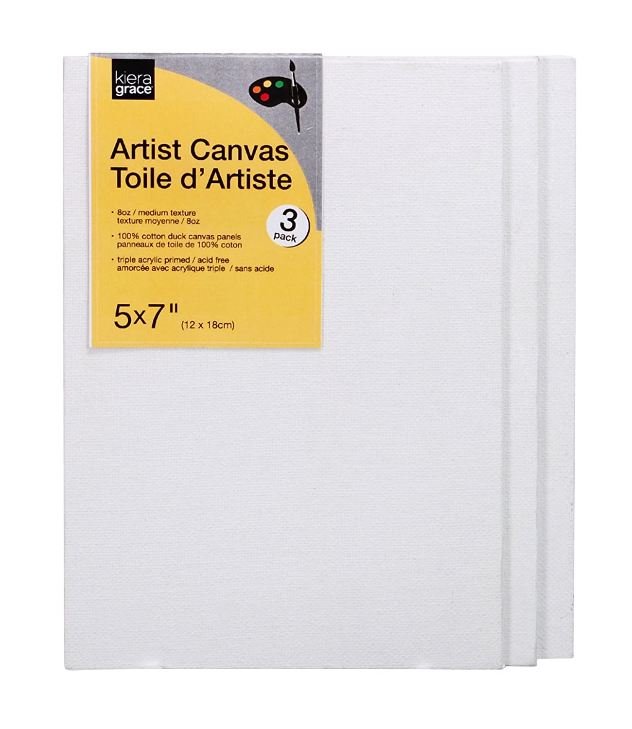 Kiera Grace Artists Canvas Panel, 5 by 7 Inch, 3 Pack, 8 Ounce Cotton Duck CR90200-9