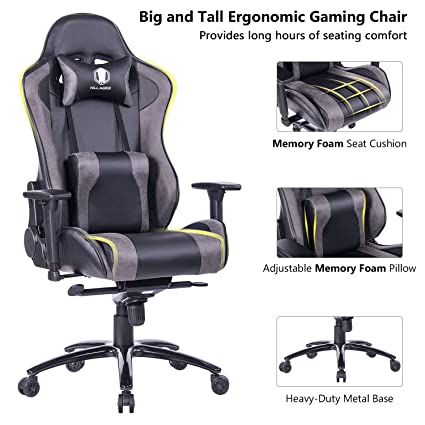 Remarkable Killabee Big And Tall Gaming Chair With Metal Base Ergonomic Leather Racing Computer Chair High Back Office Desk Chair With Adjustable Memory Foam Pdpeps Interior Chair Design Pdpepsorg