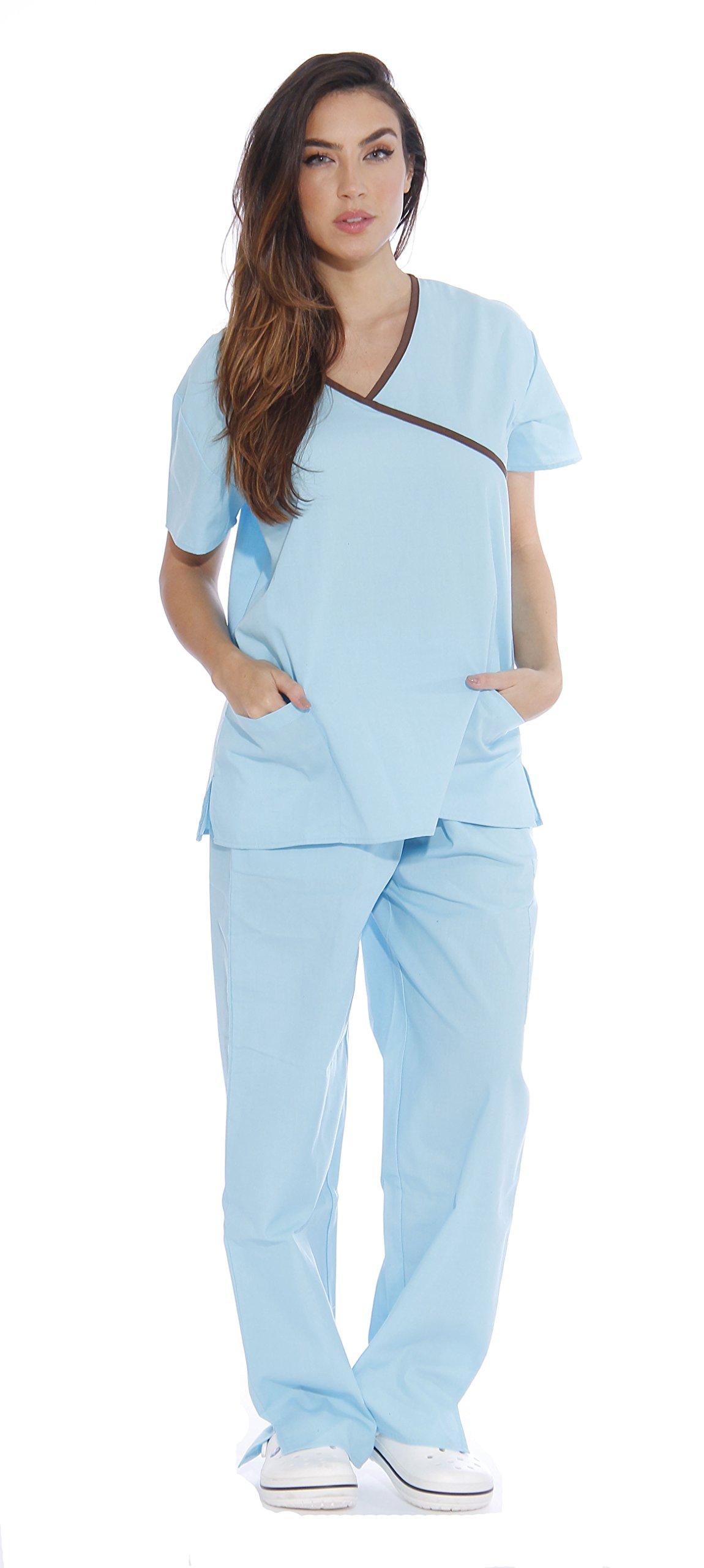 11149W Just Love Women's Scrub Sets / Medical Scrubs / Nursing Scrubs - XS, Aqua with Chocolate Trim,Aqua With Chocolate Trim,X-Small