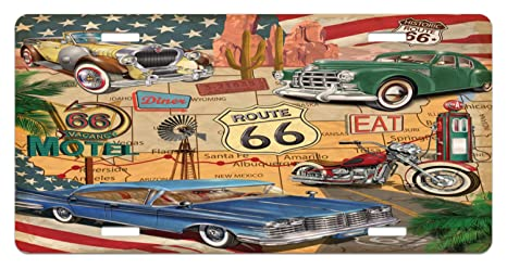 Old Fashion Cars >> Amazon Com Lunarable Route 66 License Plate Old Fashioned