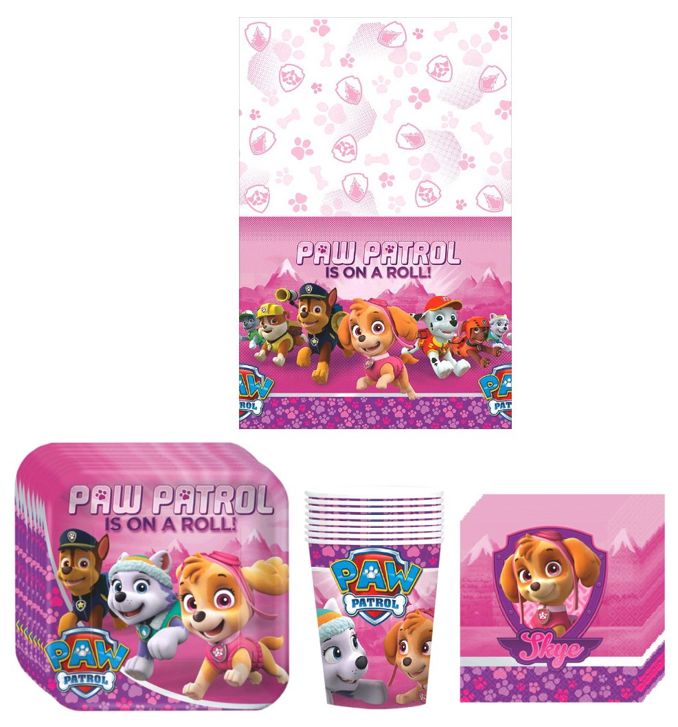 Paw Patrol Girl Skye Birthday Party Supplies Bundle Kit Including Plates Napkins and Table cover 8 Guests GoodyPlus Cups