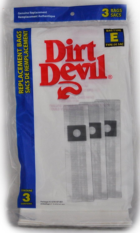 Royal Dirt Devil Type E Vacuum Cleaner Bags, Dirt Devil Item Number 3-070147-001, Fits: all corded Broom Vac Models 701, 3 bags in pack