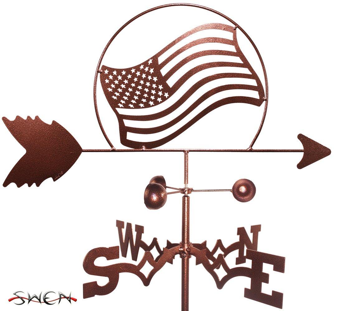 UNITED STATES OF AMERICAN FLAG FLAT POST Mount Weathervane ~NEW~