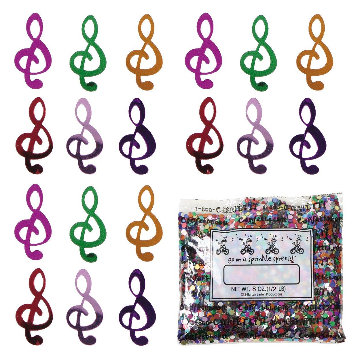 Confetti Music Clef Note Multicolors - Half Pound (8 oz) Free Ship (9068)