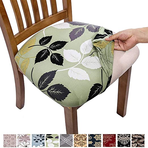 Amazon Com Comqualife Stretch Printed Dining Chair Seat Covers Removable Washable Anti Dust Upholstered Chair Seat Cover For Dining Room Kitchen Office Set Of 4 Green Leaves Kitchen Dining