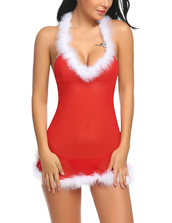 Avidlove Women Santa Lingerie Halter Bodydoll Red Christmas Mesh Chemises Set #ALL007096