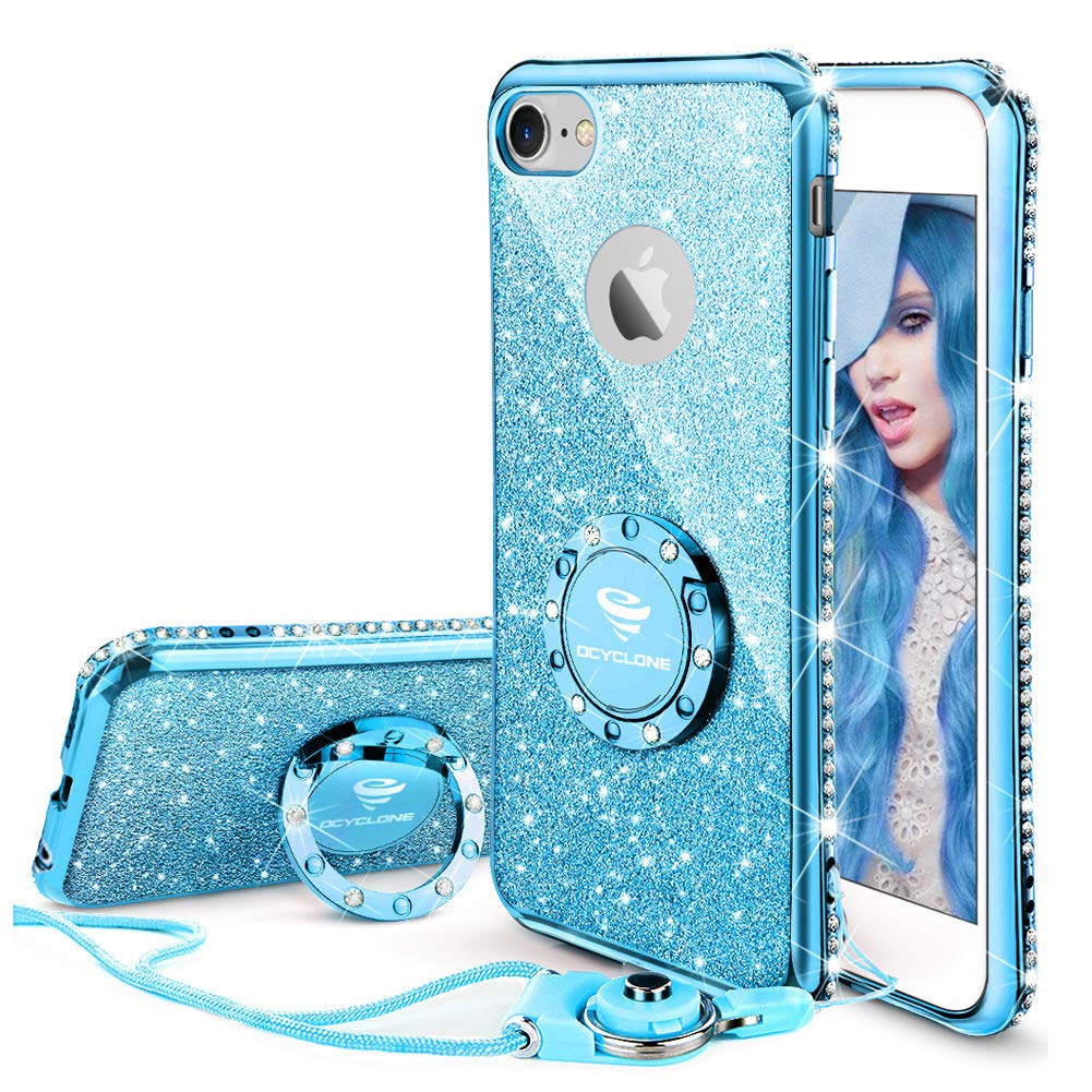 Cute Iphone 6s Plus Case For Girls 6 Casing Glossy Diamond 7 Glitter Bling Rhinestone Bumper With Ring Kickstand Sparkly Apple