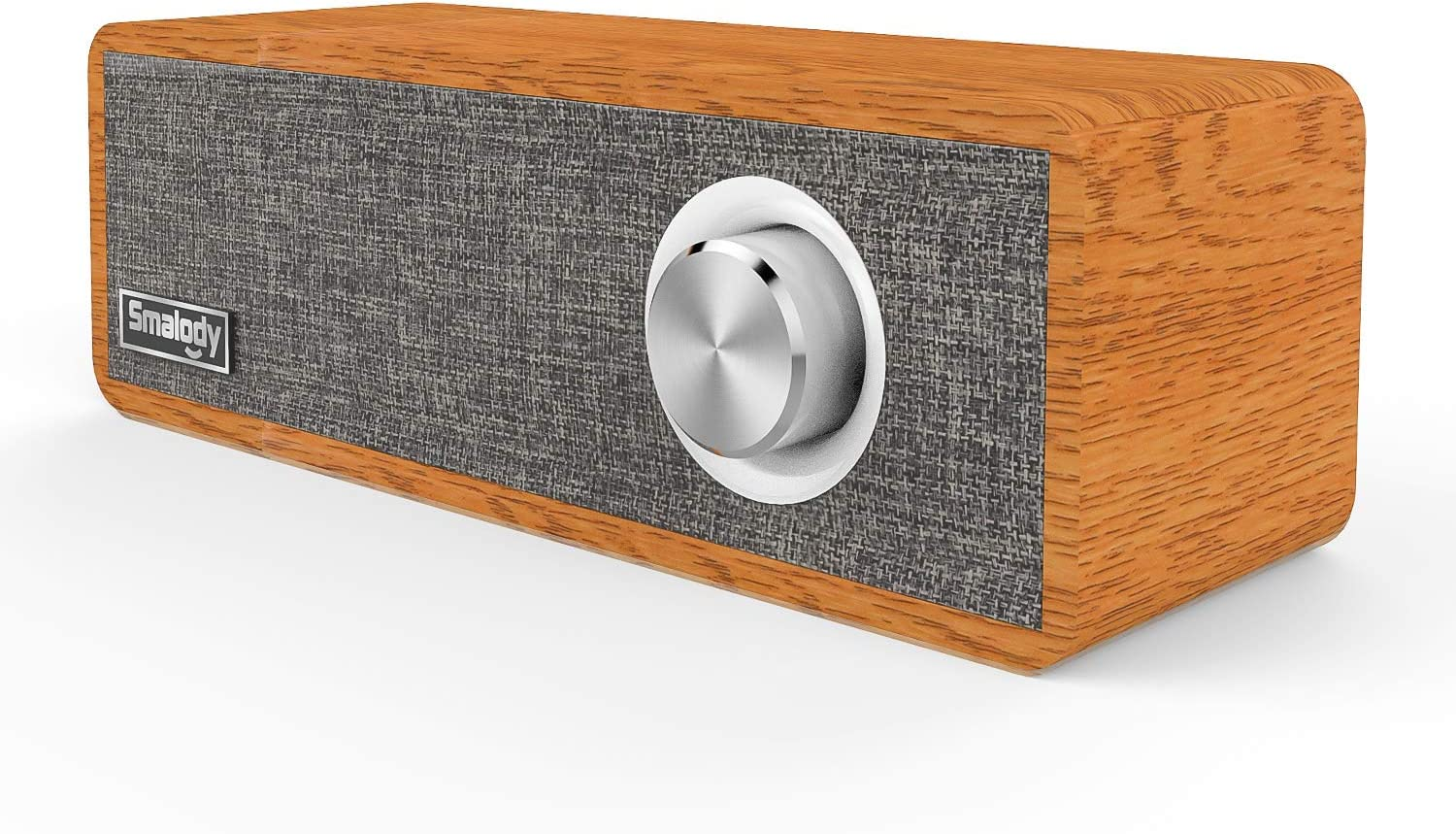 Wood Bluetooth Speaker, Smalody Portable Mini Wireless 5.0 Bluetooth Speakers with Speaker 2.1 HD Stereo Sound and Rich Bass Perfect for Home Party and Office (Gray)