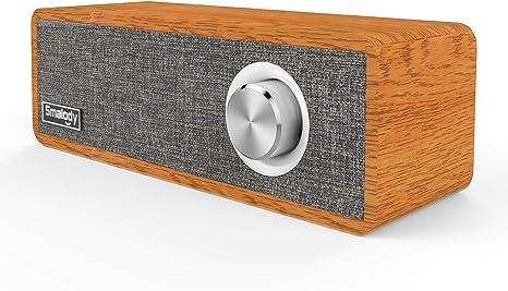 Smalody Holz Bluetooth Lautsprecher Soundbox Kabellos Tragbar Wireless  Lautsprecher Stereo Mini Subwoofer Outdoor Schreibtisch Wohnzimmer  Lautsprecher
