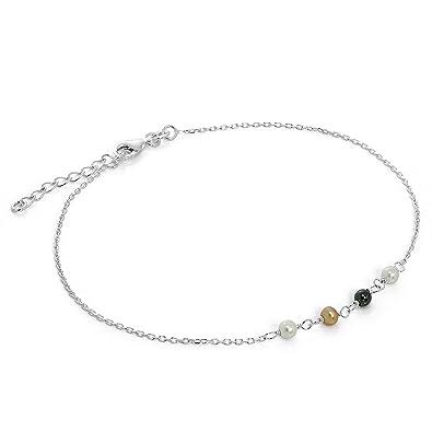 Silverly Women's 925 Sterling Silver Pink Cubic Zirconia Anklet Ankle Bracelet, 21.5 + 3cm Extender