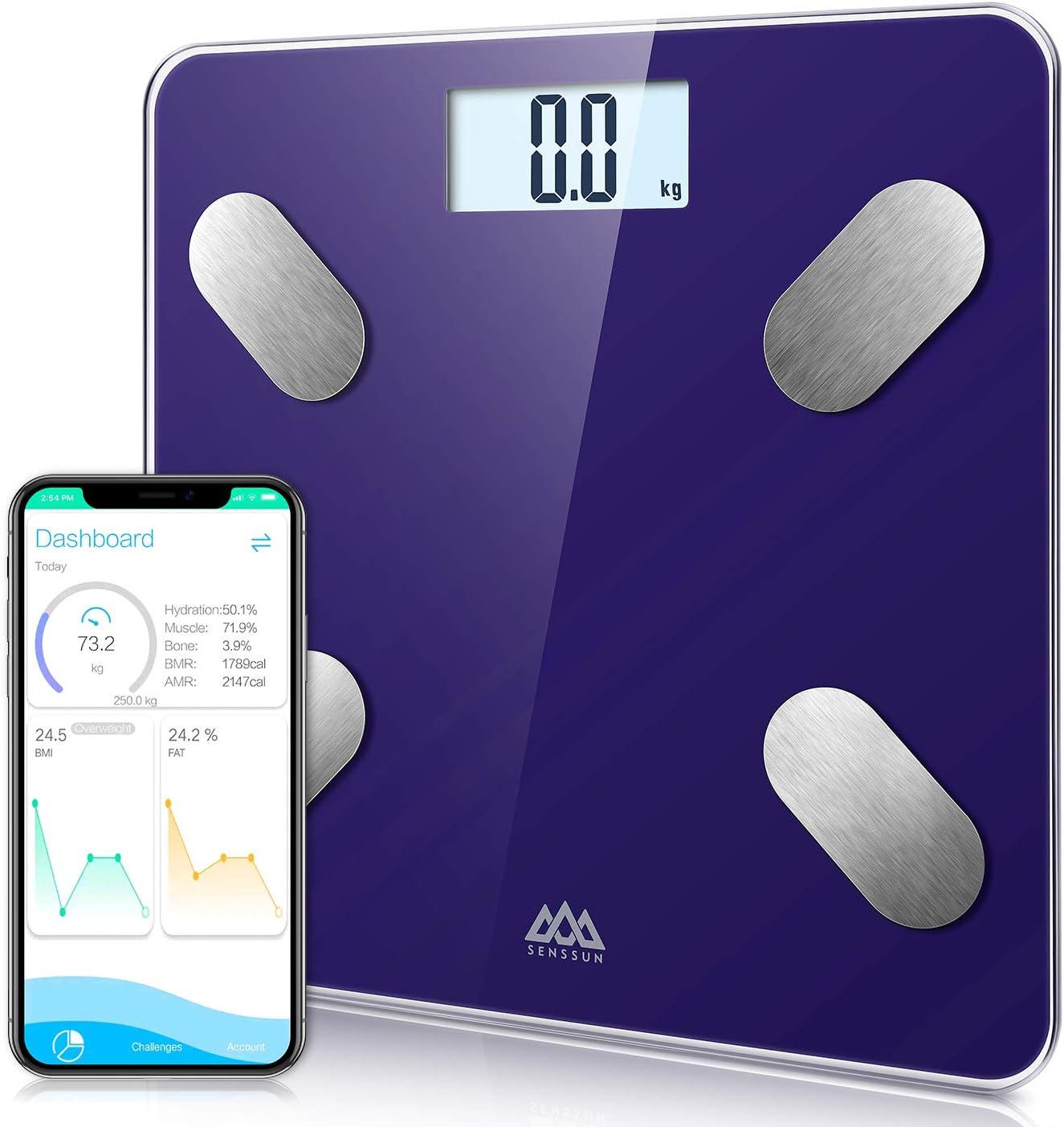 Báscula Grasa Corporal Bluetooth Básculas de baño SENSSUN,Analiza la composición corporal, porcentaje de grasa corporal,con 13 Funciones,IMC/músculo/grasa corporal/masa ósea etc(Azul)