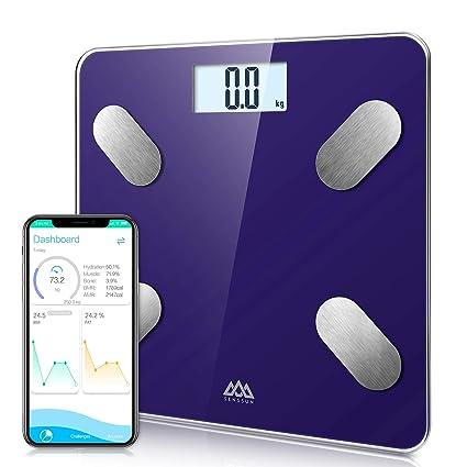 Básculas de baño SENSSUN, analiza la composición corporal, porcentaje de grasa corporal,escala de peso digital precisa,tamaño mini con aplicación para ...