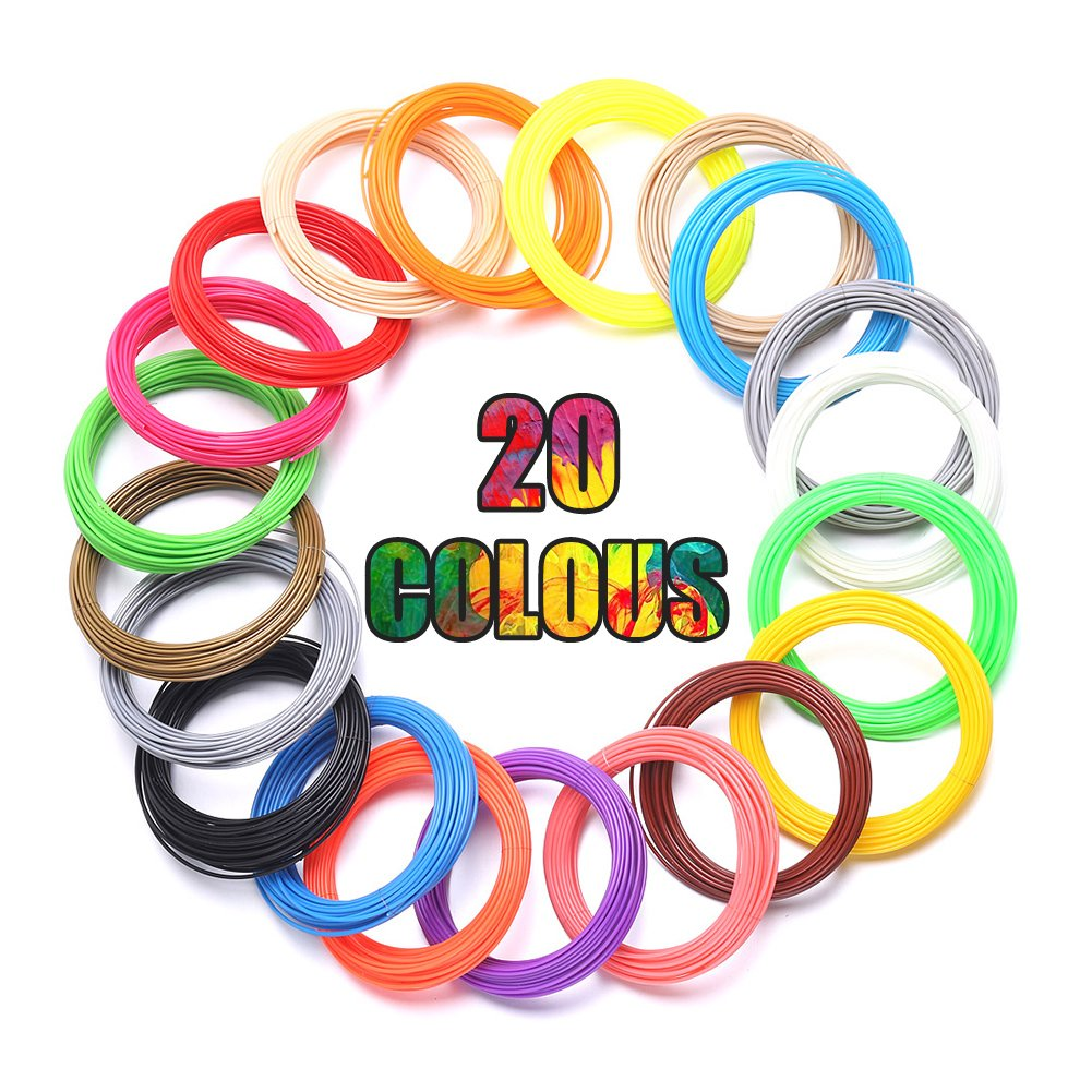 3D Pen Filament Refills 20 Colors 16.4ft Pen Filament Low Temperature PCL Printing Filament For 3D Printing Pen Kid Toy Fdit