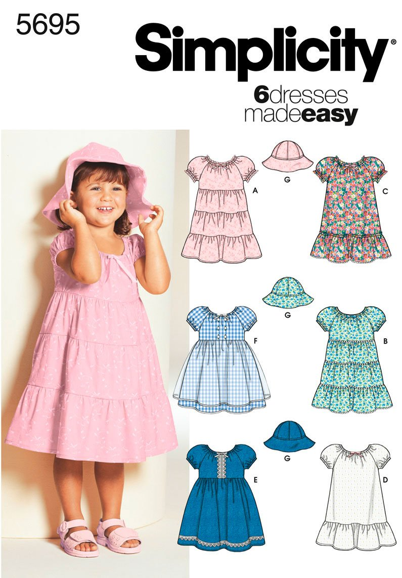 Amazon.com: Simplicity Sewing Pattern 5695 Toddler Dresses, BB (2 ...