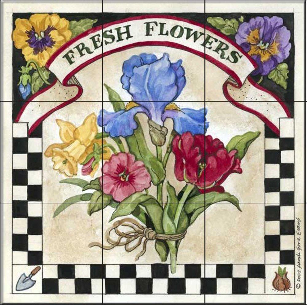 Kitchen backsplash//Bathroom shower Ceramic Tile Mural Fresh Flowers by Sandi Gore Evans