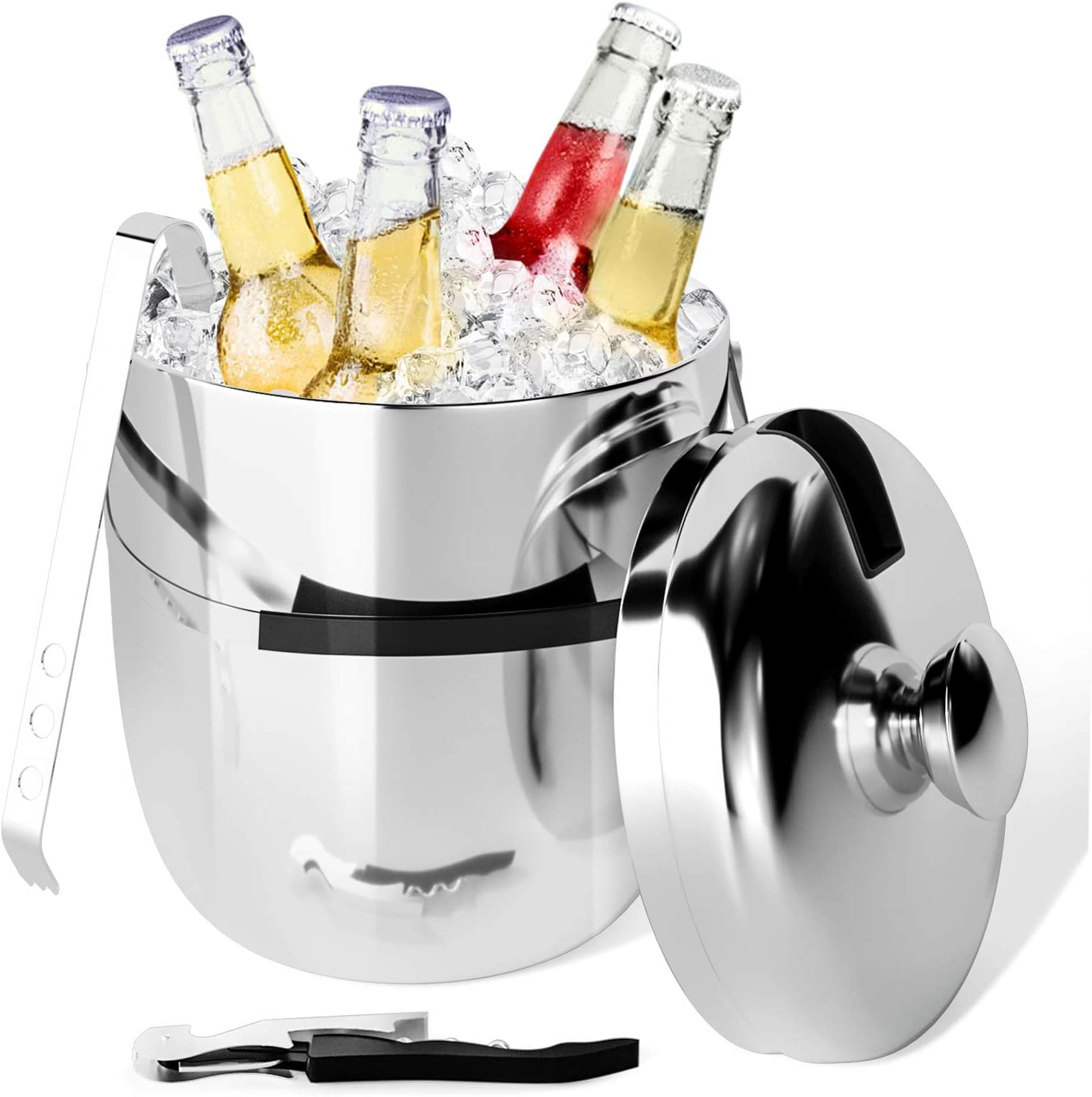Peradix Ice Bucket with Lid and Ice Tongs, Insulated Stainless Steel Double Wall Keep Ice Frozen Longer and Food Fresh, Chiller Bin Basket for Parties, BBQ & Buffet - Bonus Corkscrew - 3L - SUS304