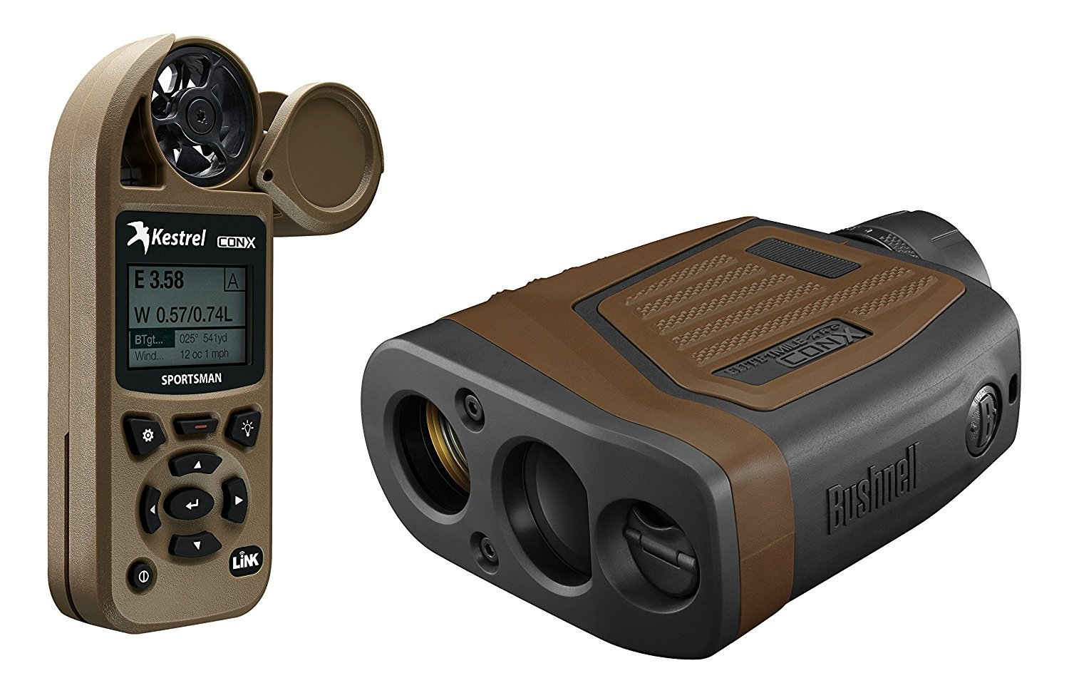 Bushnell 202540KC Elite 1 Mile Conx Laser Rangefinder with Kestrel Sportsman, Brown/Black