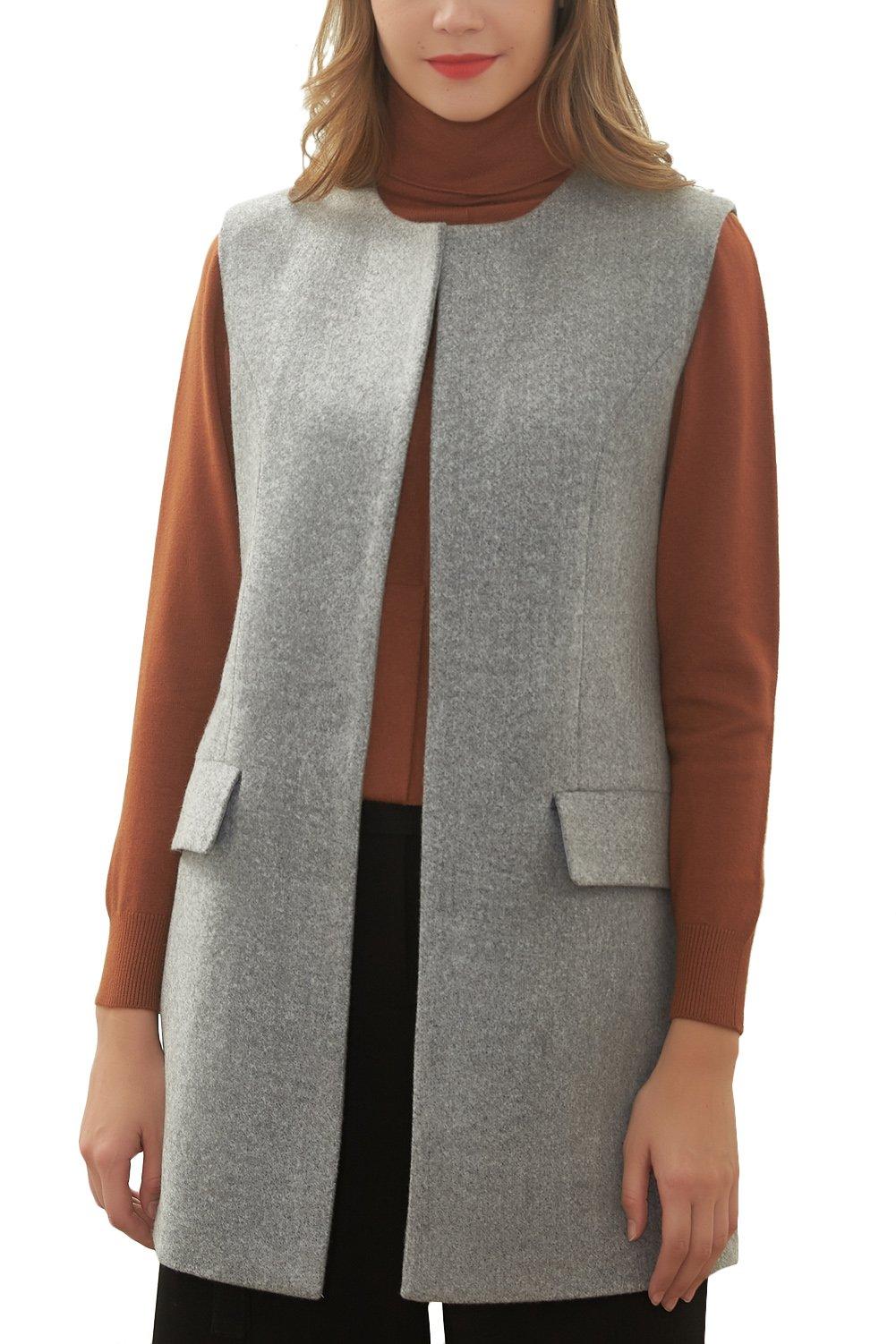 Hanayome Women's Jacket Cardigan Round Collar Slim Fit Long Wool Outwear Coat MI6 (Grey, 16W)