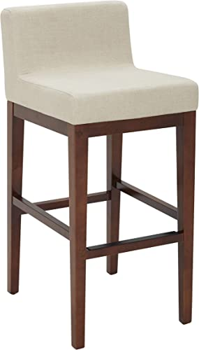 Amazon Brand Rivet Mid-Century Modern Upholstered Low Back Kitchen Bar Stool, 41 H, Hemp