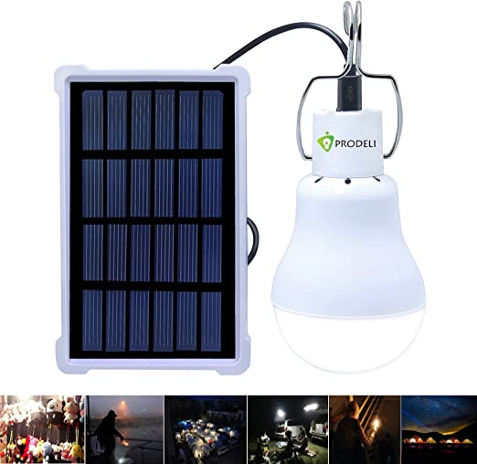 Lámparas solares, PRODELI LED Luz Solar Bombilla Recargable Lámpara S-1500 para Iluminación de Emergencia de Exterior e Interior Iluminación de Cobertizo en Jardín Acampada [Actualizado, 150LM 1600mA]: Amazon.es: Iluminación