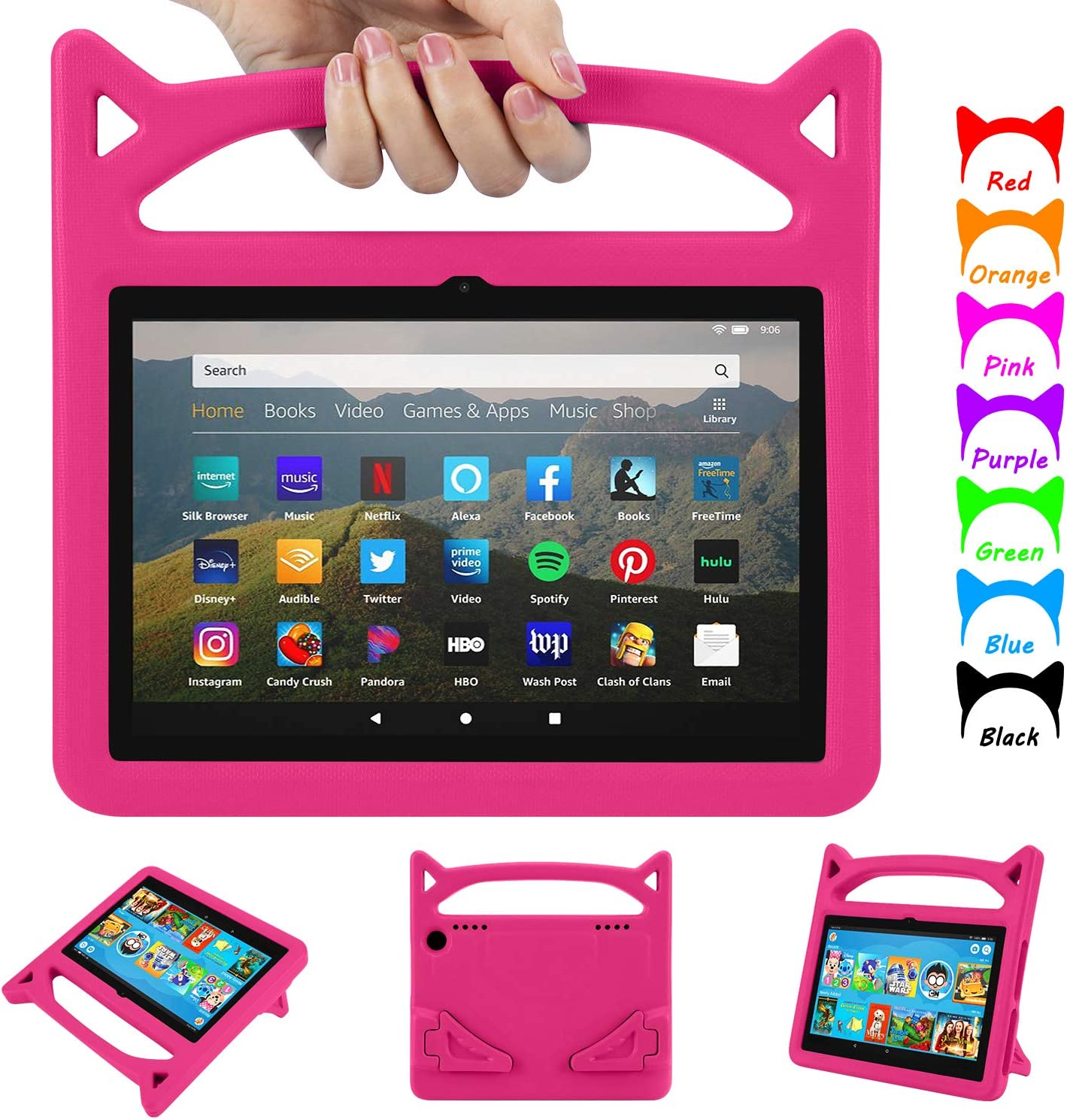 Amazon Com Fire Hd 8 Case 2020 All New Fire Hd 8 Plus Tablet Case Only For 10th Generation Will Not Work For 7th 8th Generation Auorld Light Weight Shock Proof Handle Friendly Stand Kids Proof Case
