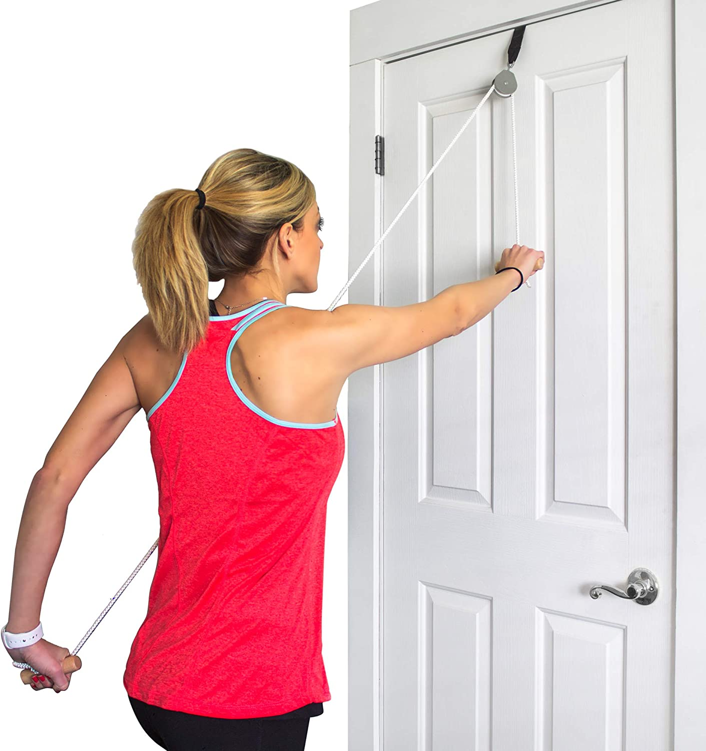 DMI Over the Door Shoulder Pulley for Physical Therapy helps Increase Mobility and Maneuverability on Injured, Elderly or Disabled with Easy to Grip Wooden Dowel Handles, White: Health & Personal Care