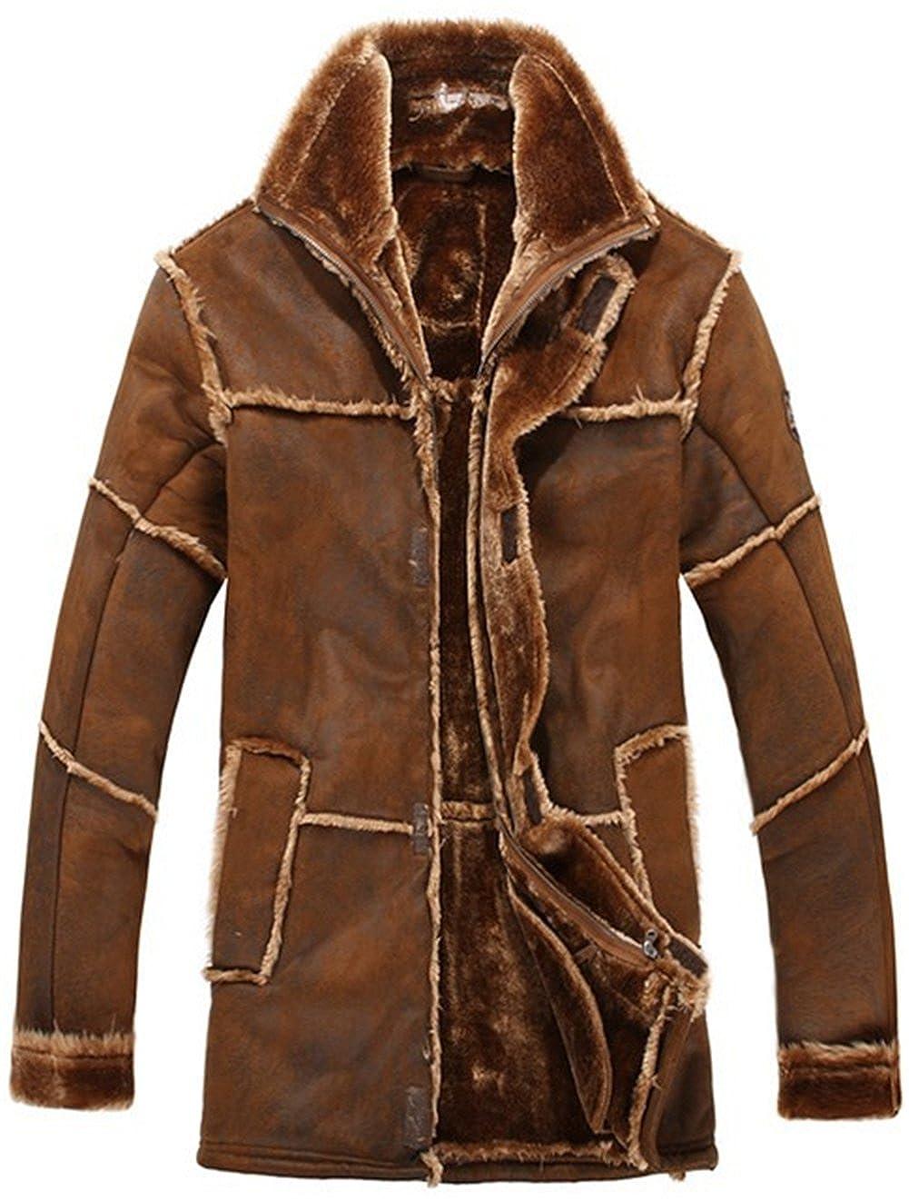 K3K Men's Vintage Suede Sheepskin Faux Fur Jacket Luxury Cashmere Shearling Coat