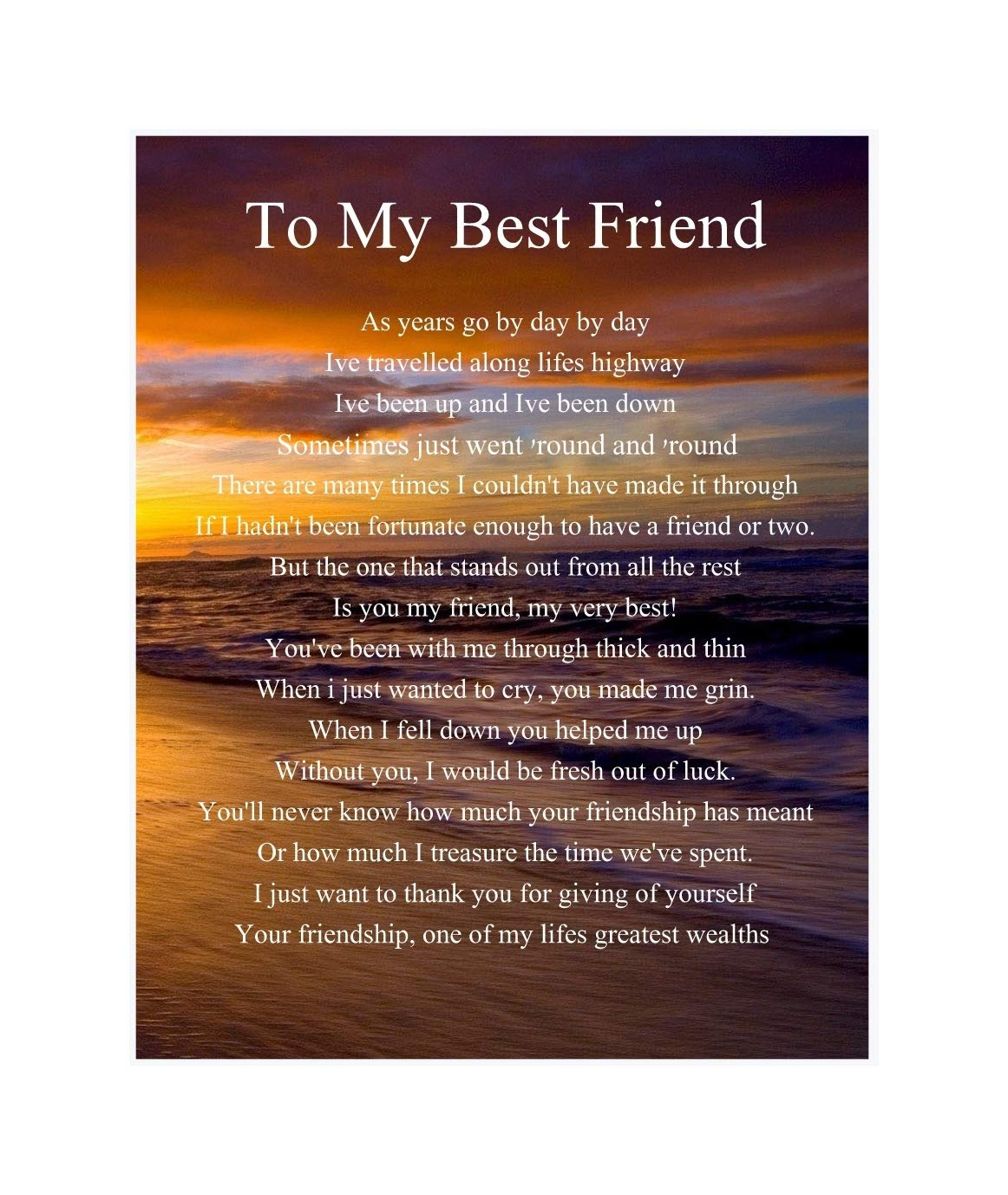 Personalised To My Best Friend Poem Mothers Day Birthday Christmas