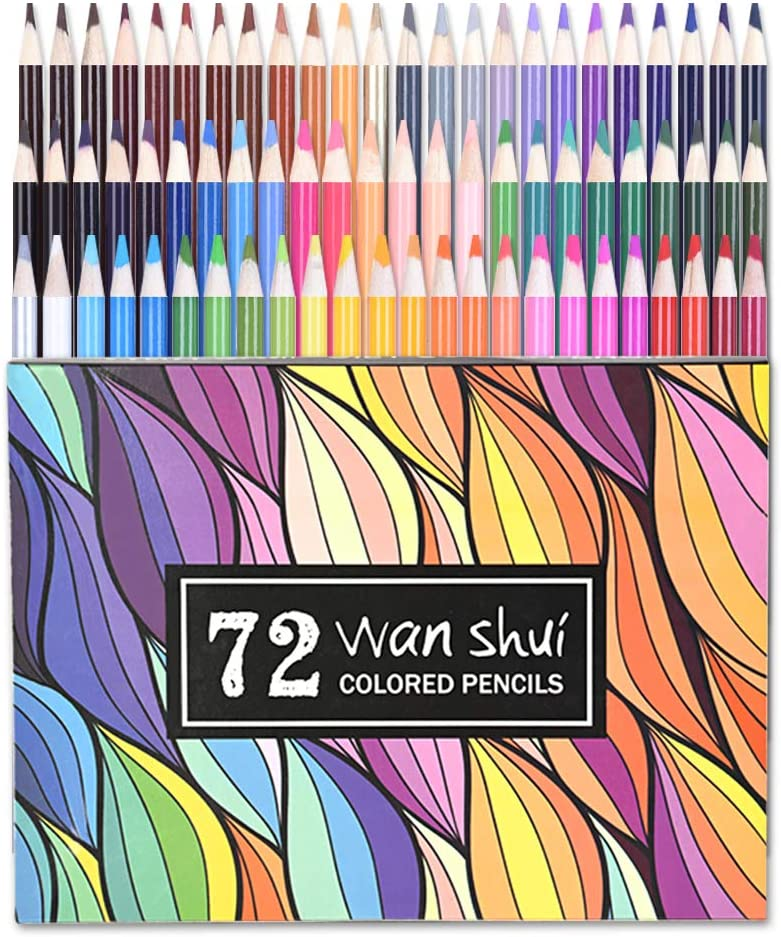 72 Colored Pencils - Professional Grade 72 Vibrant Color Pre-sharpened Colored Pencil Set for Drawing