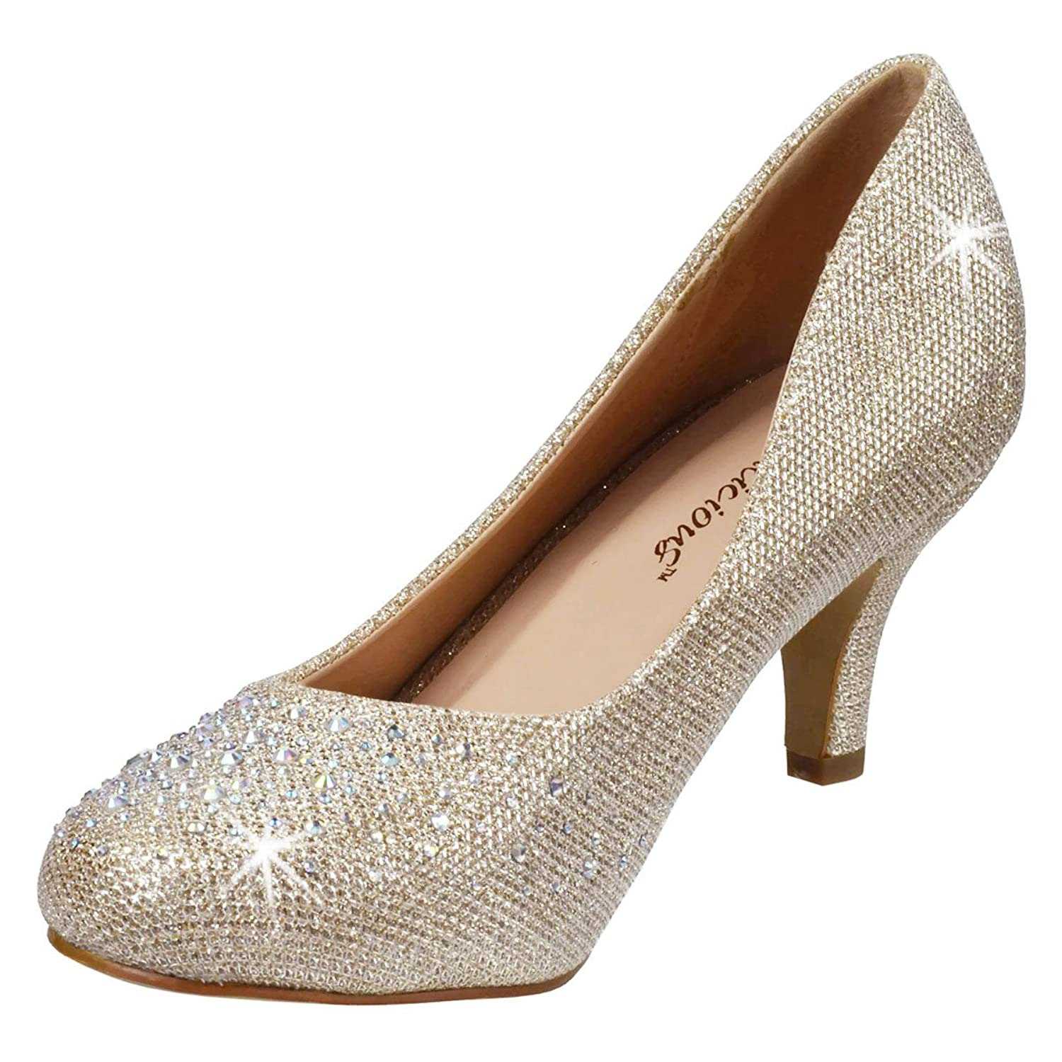 Amazon.com | Womens Kitten Heel Pumps Silver Pumps Glitter ...