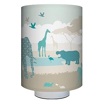 Anna Wand Tischlampe HELLO AFRIKA BEIGE/TÜRKIS/GRAU U2013 Komplette Lampe Inkl.  Lampenschirm