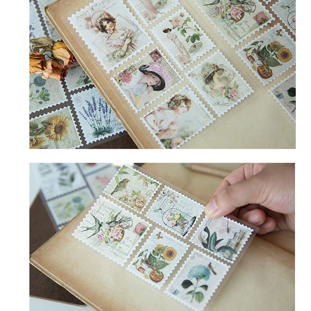 Alice in Wonderland Theme EORTA 5 Sets//400 Pcs Post Stamp Stickers for Kids Vintage Postage Stamps Assortment Adhesive Paper Sticker Decor Envelope//Bag Seal for Diary Album Scrapbook Craft Gift
