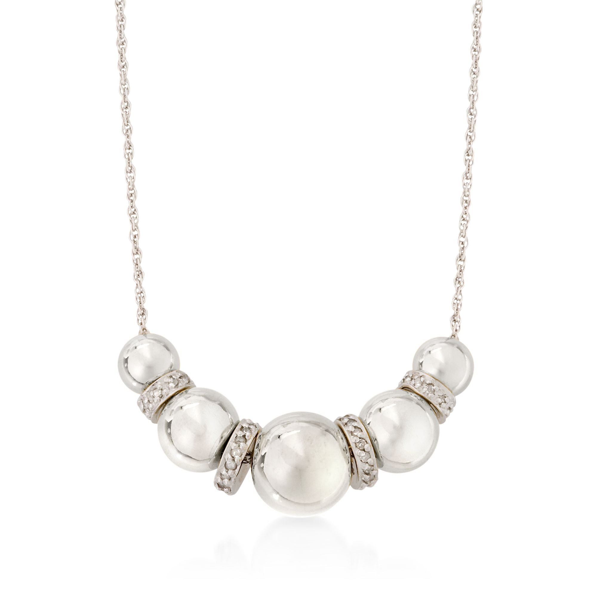 Ross-Simons 6-10mm Sterling Silver Bead Necklace With .20 ct. t.w. Diamonds by Ross-Simons (Image #1)