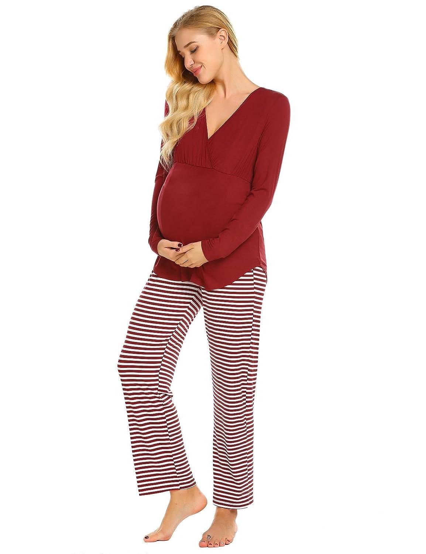 Goldenfox Women Casual Sleepwear V-Neck Long Sleeve Maternity Nursing Pajamas Set for Hospital S-XXL