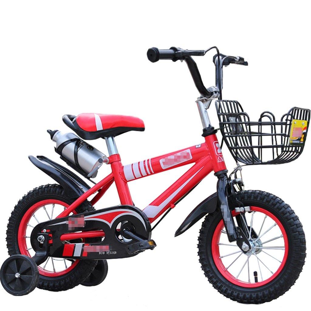KANGR-子ども用自転車 子供用自転車マウンテンバイクに適した2-3-6-8ボーイズとガールズ子供用おもちゃのハンドルバー/サドルの高さはトレーニングホイールで調節可能ウォーターボトルとホルダー-12 / 14/16/18インチ ( 色 : 赤 , サイズ さいず : 14 inches ) B07BTW51ST 14 inches|赤 赤 14 inches