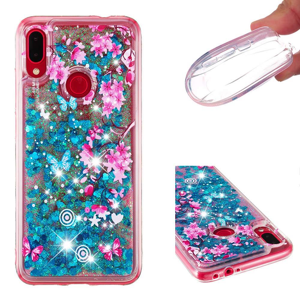 Miagon Fl/üssig H/ülle f/ür Xiaomi Redmi Note 7,Glitzer Weich Treibsand Handyh/ülle Glitter Quicksand Silikon TPU Bumper Schutzh/ülle Case Cover-Silber L/ächeln