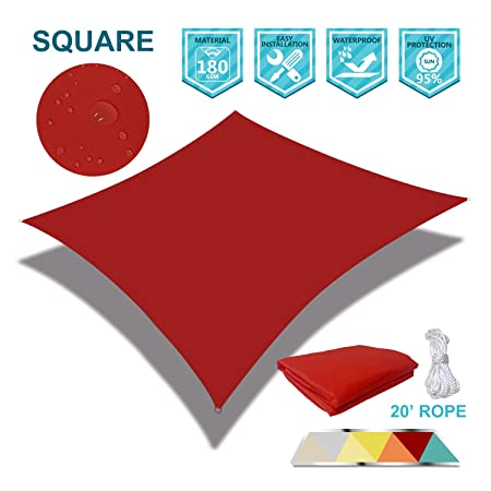 Coarbor 16 x 16 Square Red Waterproof Sun Shade Sail Perfect for Patio Outdoor Garden