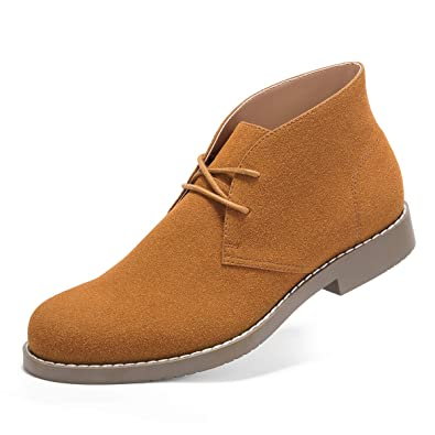 e477d5cf833 GM GOLAIMAN Men s Genuine Suede Chukka Boots Lace Up Desert Boots Ankle  Dress Boots Stylish Street Walking Shoes