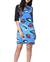 Eloise Isabel Fashion Mulheres elegante dress moda gatos bonitos impresso o pescoço meia manga midi dress