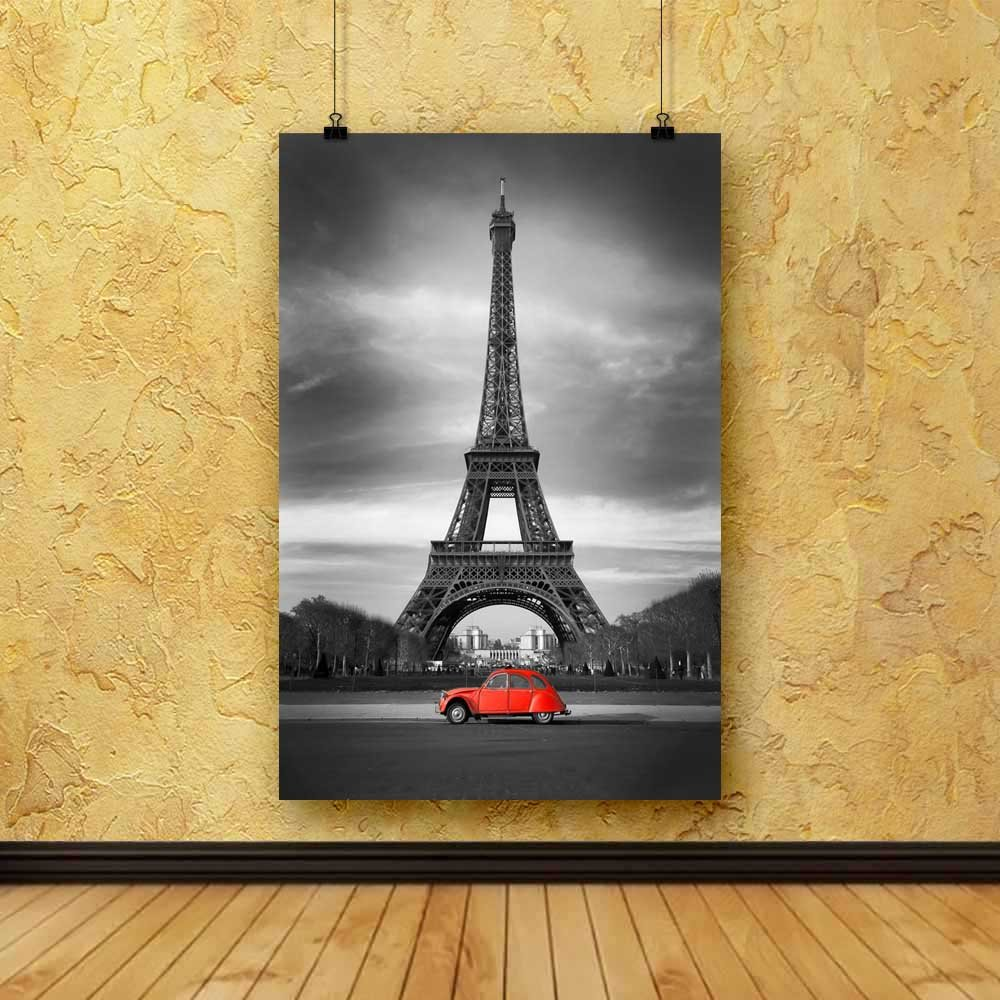 PB Eiffel Tower & Old Red Car Paris Canvas Painting 6mm Thick MDF ...