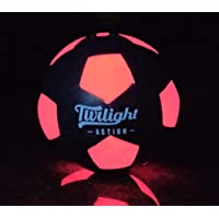 Fun LED Glow in The Dark Soccer Ball Regulation Size 5 for Nighttime Play. Two Bright LEDs Inside with Batteries