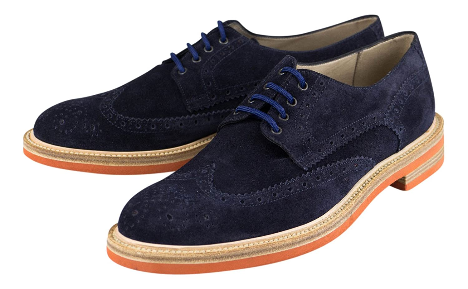 Canali 1934 bluee Suede Leather with Wingtip Design Derby Dress shoes Size 9.5 42.5