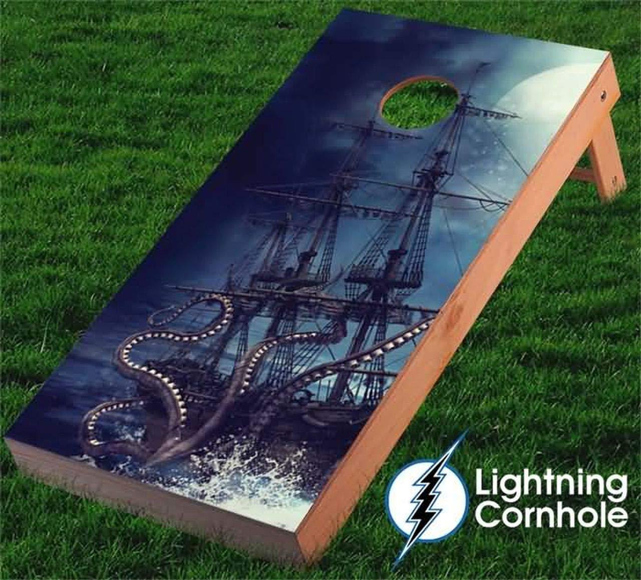 Kraken and Pirate Ship Cornhole Boards