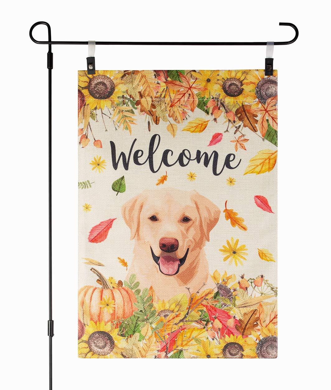 Fall Garden Flag with Dog Yellow Labrador Retriever, 12 x 18 Inch, Welcome Autumn, Halloween Thanksgiving, Double Sided Burlap, Yellow Lab, Sunflowers Flowers, Orange October Fall Yard Decor