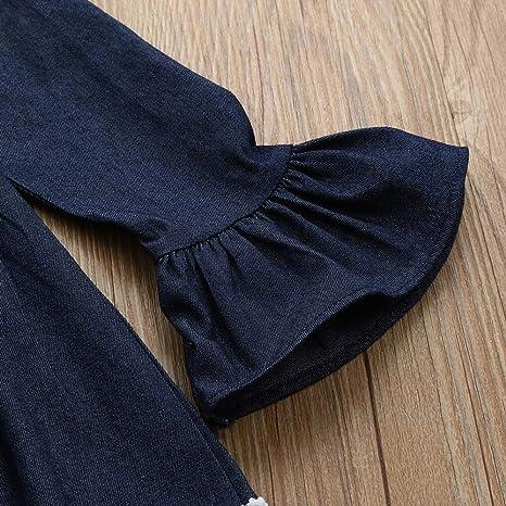 Bestow Vestido de Manga Larga de Encaje de Mezclilla para niños Ropa de niñas Vestido Encaje: Amazon.es: Ropa y accesorios