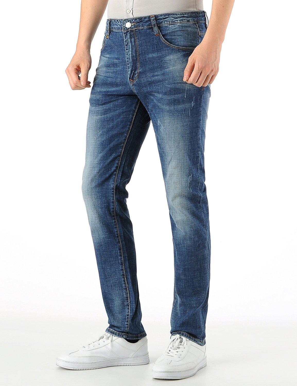 KSTUN Men's Slim Fit Straight Leg Stretch Jeans Casual Blue Elastic Fashion Pants Size 28