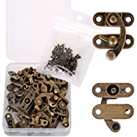 PGMJ 20 Pieces Thickened Solid Bronze Tone Antique Right Latch Hook Hasp Horn Lock Wood Jewelry Box Latch Hook Clasp and…
