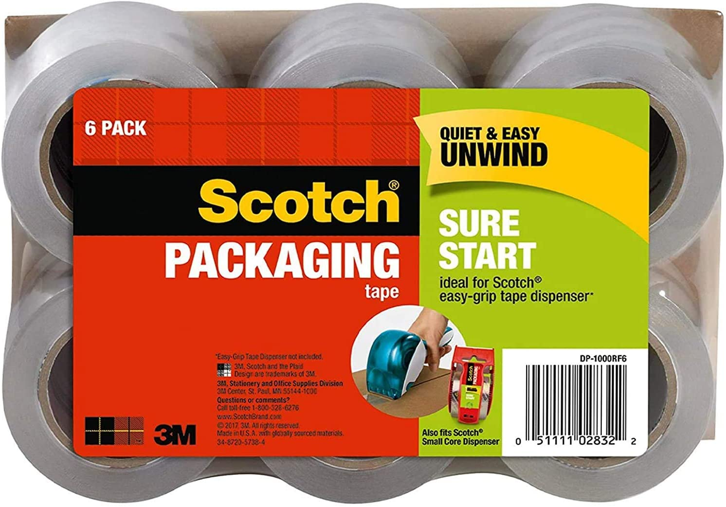 No Splitting or Tearing Scotch Sure Start Packaging Tape Clear Designed for Packing 1.5 Core 1.88 x 25 yd Shipping and Mailing 1 Pack 6 Rolls