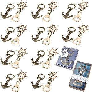 MDLUU 20 Pcs Nautical Bottle Openers Return Gifts, Party Favors, Nautical Theme Decor for Baby Shower Wedding Birthday (Anchor & Ship Wheel Design)
